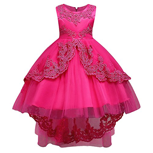 HUANQIUE Girls Pageant Party Dresses High Low Wedding Flower Girl Gowns HotPink 6-7 Years