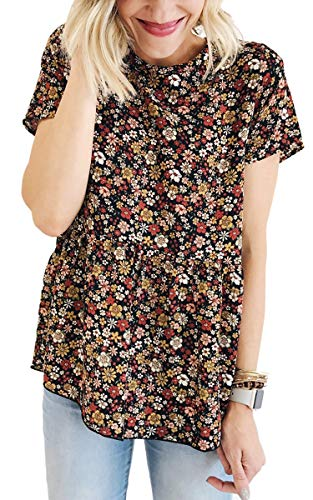 Angashion Women's Tops - Casual Floral Crew Neck Short Sleeve Flare Tunic T Shirt Blouses Black ()