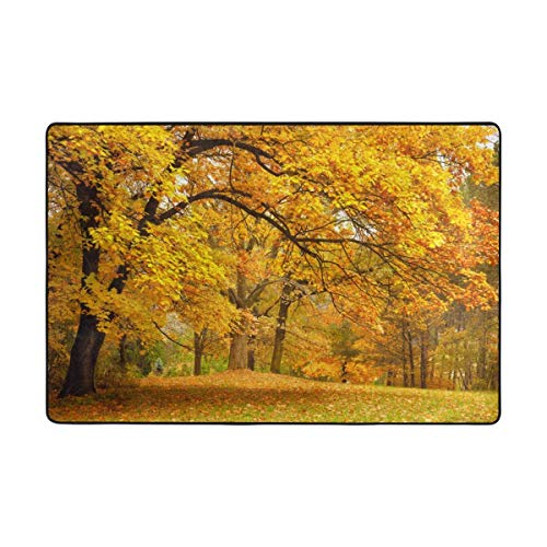 Play Mat for Kids - Autumn Forest Leaves Area Rug Carpet Nursery Rug Dining Room Home Bedroom Floor Mat 6x4 Feet - Baby Mats for Playing/Crawling