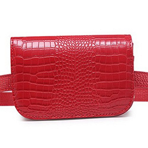 Women Waist Packs Classic Fashion Leather Waist Packs Red by BAGGY