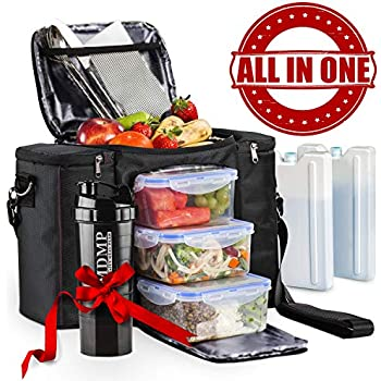 Meal Prep Lunch Bag/Box For Men, Women + 3 Large Food Containers (45 Oz.) + 2 Big Reusable Ice Packs + Shoulder Strap + Shaker With Storage. Insulated Lunchbox Cooler Portion Control Set (Black)