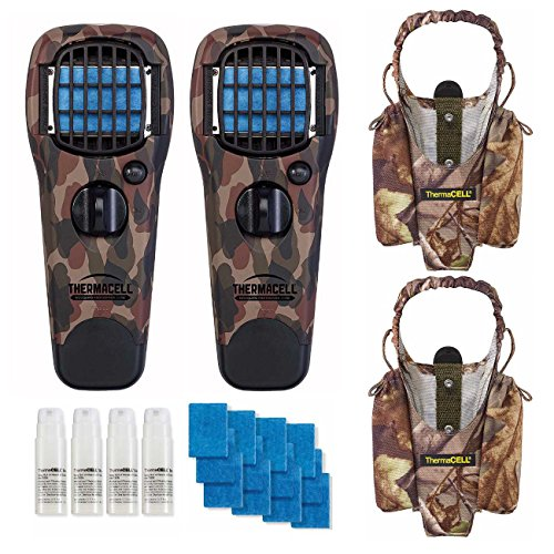 Realtree Thermacell Mosquito Repellent (Thermacell Mosquito Repeller Devices (2x, Camo) with 2 Holsters and 48-Hour Earth Scent Refill Value Pack)