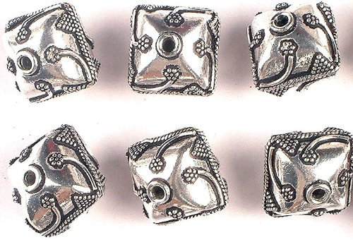 Sterling Silver Square Beads with Granulation and Stems Price Per Piece