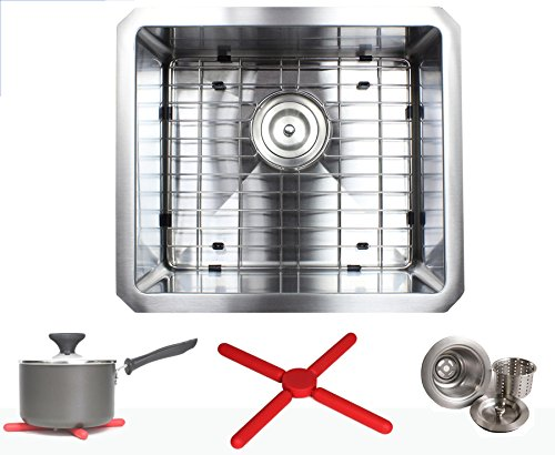 Premium 17 Inch Stainless Steel Kitchen Sink Package By Ariel - 16 Gauge Undermount Single Bowl Basin - Complete Sink Pack + Bonus Kitchen Accessories - Ideal For Home Improvement, Renovation (Package Stainless Sink)