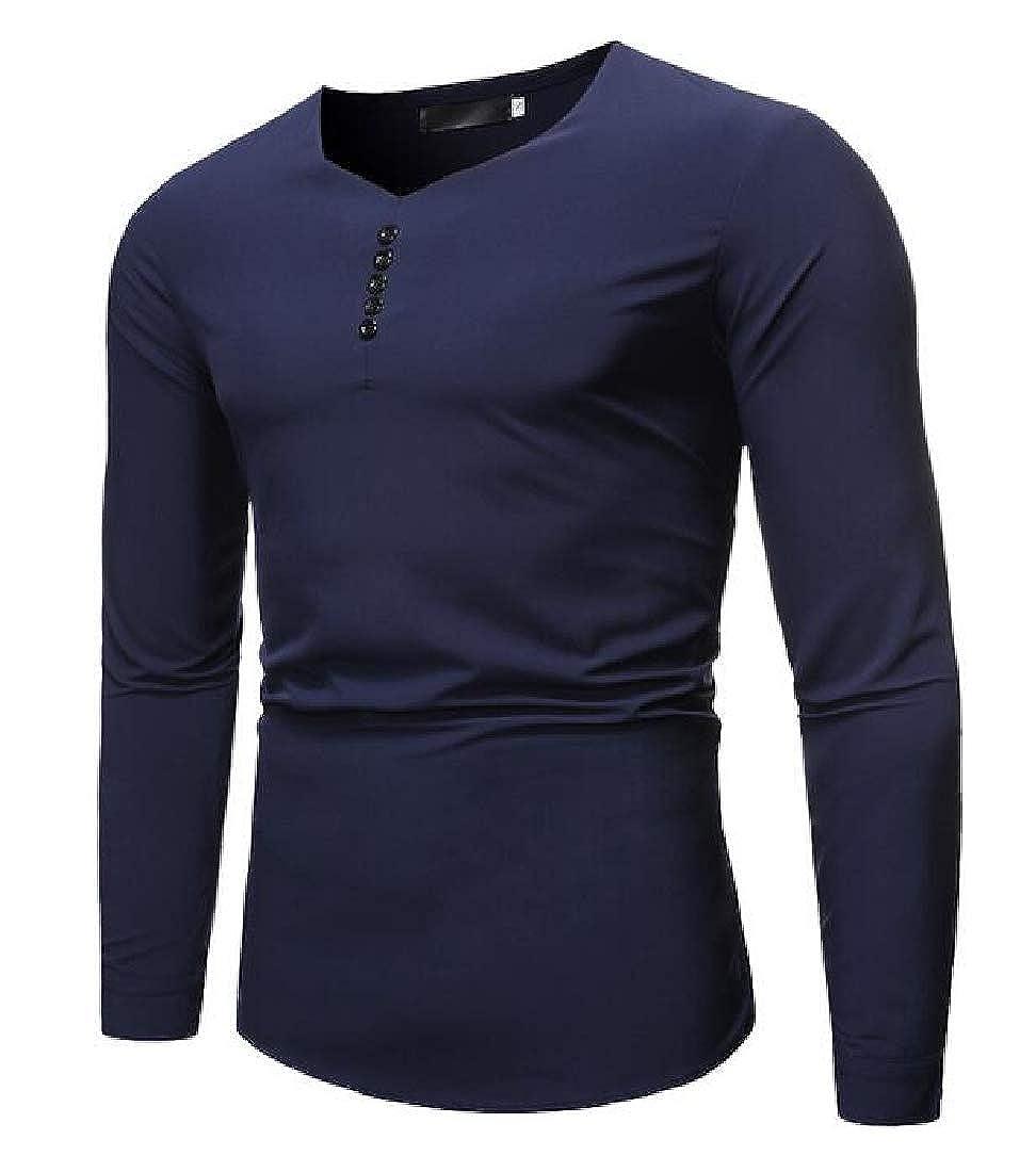 Zantt Men Solid V Neck Slim Fit Long Sleeve Casual T-Shirt Tee Top