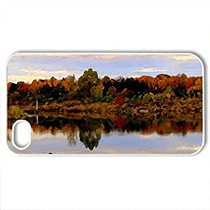 Beautiful landscape of autumn - Case Cover for iPhone 4 and 4s (Lakes Series, Watercolor style, White)