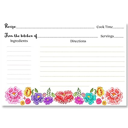 fiesta floral recipe cards pink purple red green back printed