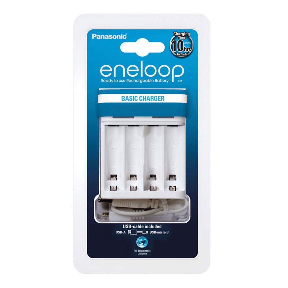 Panasonic eneloop BQ-CC61E Caricatore USB con 4 eneloop AA, per 2/4 batterie Ni-MH AA / AAA 52061000