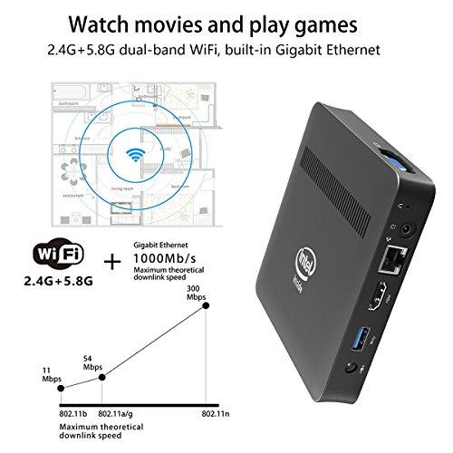 Z83-W Fanless Mini PC Desktop, Windows 10 64-bit Intel x5-Z8350 (Up To 1.92 GHz) HD Graphics, DDR3L 2GB/ 32GB eMMC/ 4K/ 1000M LAN/ 2.4/5.8GHz WiFi/ BT 4.0 [Dual Output - VGA/HDMI] by Plater (Image #6)
