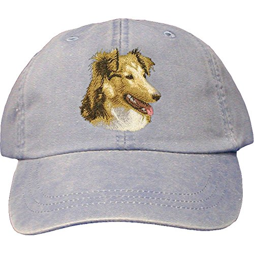 (Cherrybrook Dog Breed Embroidered Adams Cotton Twill Caps - Periwinkle - Shetland Sheepdog)