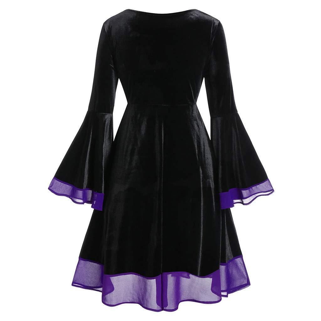 GRATUIT Robe Femme Vintage /à Manches Longues /Él/égant Chic Lacer Cosplay Carnaval F/ête Bal de F/ête Robe de Soir/ée