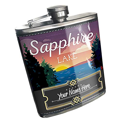 Neonblond Flask Lake retro design Sapphire Lake Custom Name Stainless Steel ()