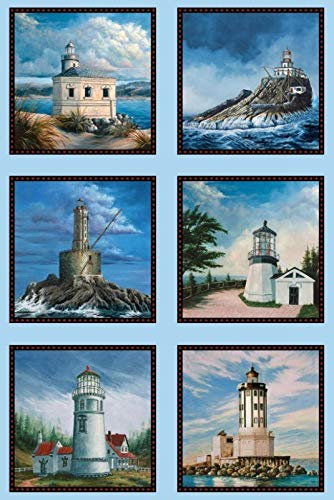 West Coast Lighthouses Cotton Fabric by The Panel 24