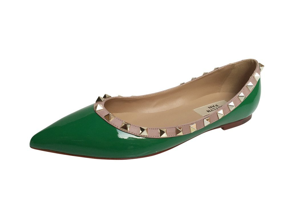 Kaitlyn Pan Pointed Toe Studded Ballerina Leather Flats B077GL4F95 37.5 CN/7 US/37 EU|Green Patent/Nude Trim/Gold Studs