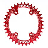 LOLTRA DECKAS Round Oval Aluminium CNC 96BCD MTB Bike Crankset Wide Narrow Chainring for SLX M7000 /XT M8000/ M9000 Bike Crankset (Red, 32T Round)