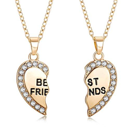 GreatFun - Collar con colgante de corazón de vidrio unisex para hombre y mujer, collar de amistad (oro)
