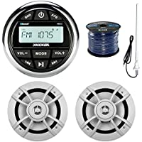 Kicker KMC2 Marine Boat Yacht Gauge Style AM/FM Radio Stereo Receiver Bundle Combo With 2x Kenwood 6.5-Inch 100 Watt Speaker + Enrock Radio Antenna + 50 Feet Speaker Wire