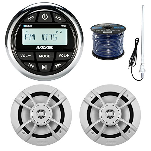 Kicker KMC2 Marine Boat Yacht Gauge Style AM/FM Radio Stereo Receiver Bundle Combo With 2x Kenwood 6.5-Inch 100 Watt Speaker + Enrock Radio Antenna + 50 Feet Speaker Wire - Kicker Package