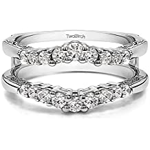 Sterling Silver Vintage Ring Guard with Milgraining and Filigree Designs with Cubic Zirconia (0.73 ct. tw.)