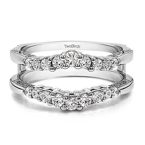 - TwoBirch 0.73 ct. Cubic Zirconia Vintage Ring Guard with Milgraining and Filigree Designs in Sterling Silver (3/4 ct. twt.)