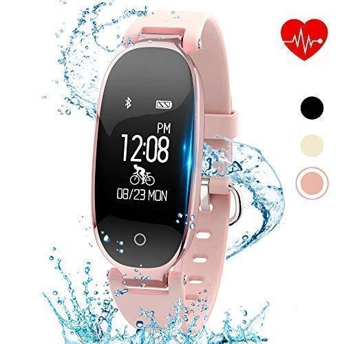 Digital Sleek Watch - kingkok Elegant Waterproof Fitness Tracker for Women Smart Bluetooth Pedometer Watch Band Multi-Mode Wireless Activity Tracker Bracelet [Rosegold]