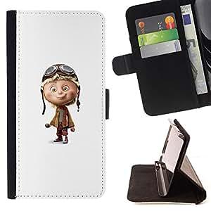 /Skull Market/ - AIRPLANE WHITE CHARACTER KIDS PILOT CHILDREN'S For Apple Iphone 6 - Caja de la carpeta del tir???¡¯???€????€??????&ac