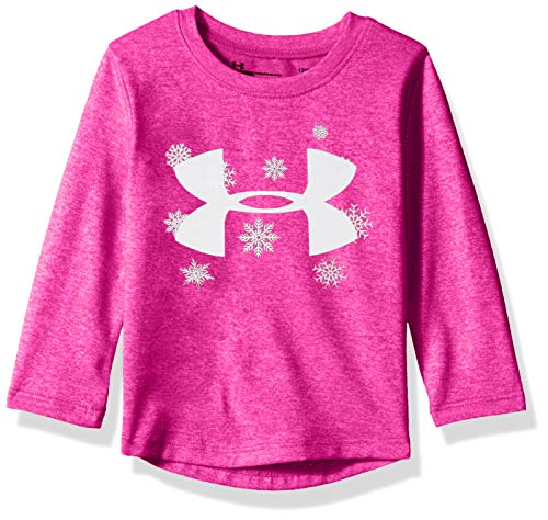 Under Armour Girls' Baby Long Sleeve Graphic Tee, Flour Fuchsia Big Logo Snowflake, 18M