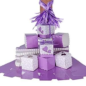 100 × Cajas para Guardar Caramelos, Galletas Pequeñas Regalo, Detalle, Recuerdo, Decoración, Favor para Invitados de Boda, Fiesta, Bautismo, Comunión, Graduación etc. (Violeta)