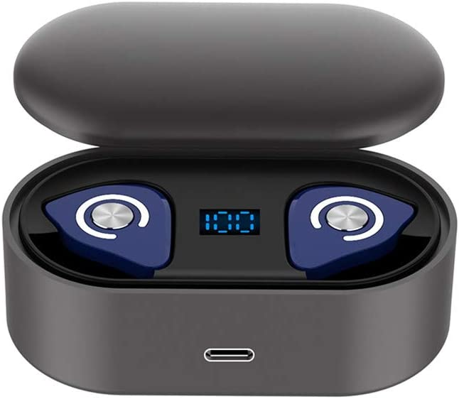 Freesa Bluetooth Earphone Wireless Headphones Mini in-Ear Binaural Callable Ear Tips Headset Noise Reduction Touch Control Charger Base Portable Earplug Sport Run Fitness Office (Blue)