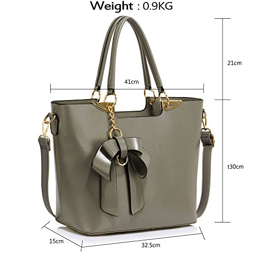 Design Grey Leather Large Tote College Ladies Handbags 2 Office Shoulder Large Womens New Bags OHPqxOZ