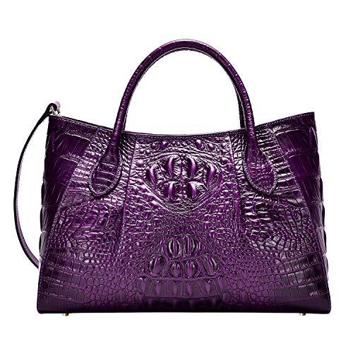 Handbag Crocodile Pattern Tote (PIJUSHI Women Handbags Crocodile Top Handle Bag Designer Satchel Bags For Women (5002A, Violet))