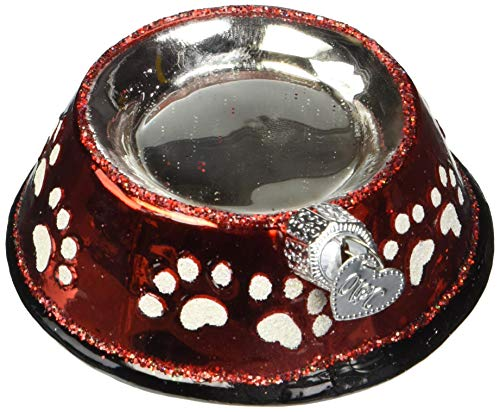 Old World Christmas Glass Blown Ornament Dog Bowl (32285)