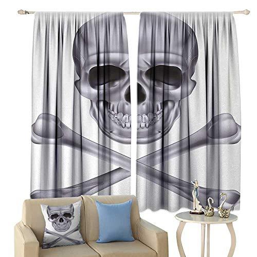 HoBeauty Silver, Window Curtain Drape, Vivid Skull and Crossbones Dangerous Scary Dead Skeleton Evil Face Halloween Theme, Customized Curtains,(W72 x L45 Inch, -