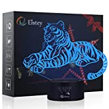 Tiger 3D Night Light Lamp,Elstey 7 Color Changing Optical Illusion LED Lights with Acrylic Flat & ABS Base & USB Cable Touch Desk Lamps for Holiday Gift