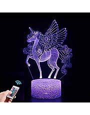 Eenhoorn geschenken, 3D Eenhoorn Nachtlampje voor Kinderen met Afstandsbediening, 16 Kleuren Veranderen 3D-illusielamp, Kerstmis Verjaardagscadeau voor Meisjes