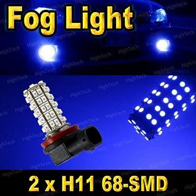 Pair Ultra Blue H11 68-SMD LED Headlight Bulbs For Driving Fog Light / Day Time Running Light DRL