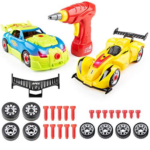 USA Toyz Kid Nitro Race Car Take Apart Toys - 2Pk Build A Car Kit, STEM Toys Building Set (52 Pcs) (Build A Toy Car)