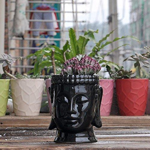 Buddha Head Ceramic Flower Pots & Planters, White