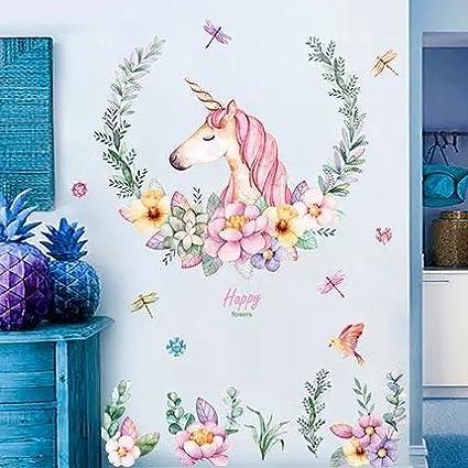 Wandsticker4u Xl Wandtattoo Aquarell Einhorn Mit Blumen Wandbild 110x110 Cm Wandsticker Pferdekopf Vogel Schmetterlinge Tiere Poster Pferd