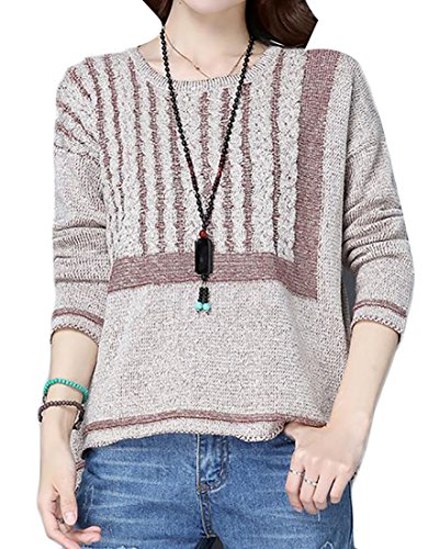 Pandapang Womens Classic Fit Rib-cable Crewneck Hi-low Pullover Knit Sweater Camel M Classic Cable Crewneck Sweater