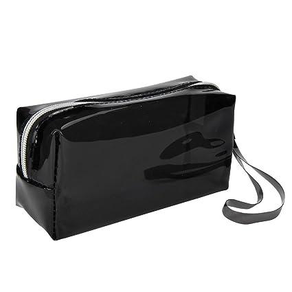 Fossrn Plastico Estuches Transparentes de Colores Grandes Estuche de Lápices (Negro)
