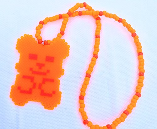 Orange Gummy Bear Perler Necklace PLUR Necklace Festival Trading Kandi Necklace