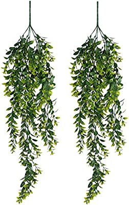 YQing 2 Pack Artificial Wall Hanging Plants Artificial Ivy Fake Hanging Trailing Vine Plants Decor Plastic Greenery for Home Wall Indoor Outdside