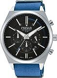 Pulsar - PT3703X1 - Montre Homme - Quartz - Analogique - Aiguilles lumineuses - Chronomètre - Bracelet nylon Bleu