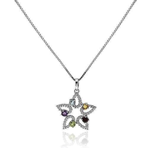 75fe7f5acff84f Gioiello Italiano - Collana stella in argento e pietre colorate ...