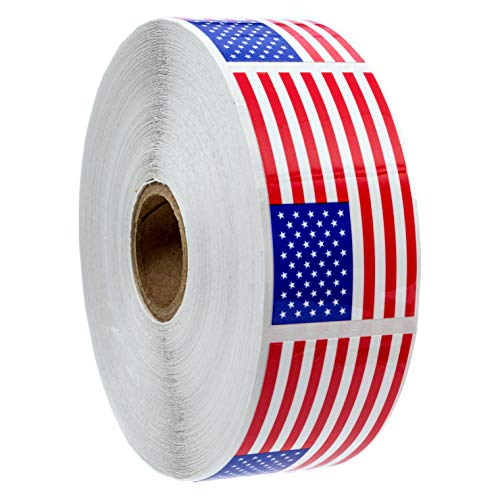 500 Weather Resistant American Flag Stickers (Perforated) / Outdoor American Flag Stickers / 2.125
