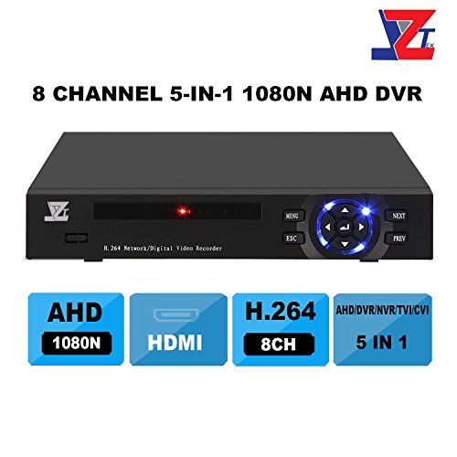 JZTEK 8ch 1080N Hybrid 5-in-1 AHD DVR (1080P NVR+1080N AHD+960H Analog +TVI+CVI) CCTV 8 channel Standalone dvr Quick QR Code Scan w/ Easy Remote View Home Security Surveillance Camera System (Analog Hybrid)