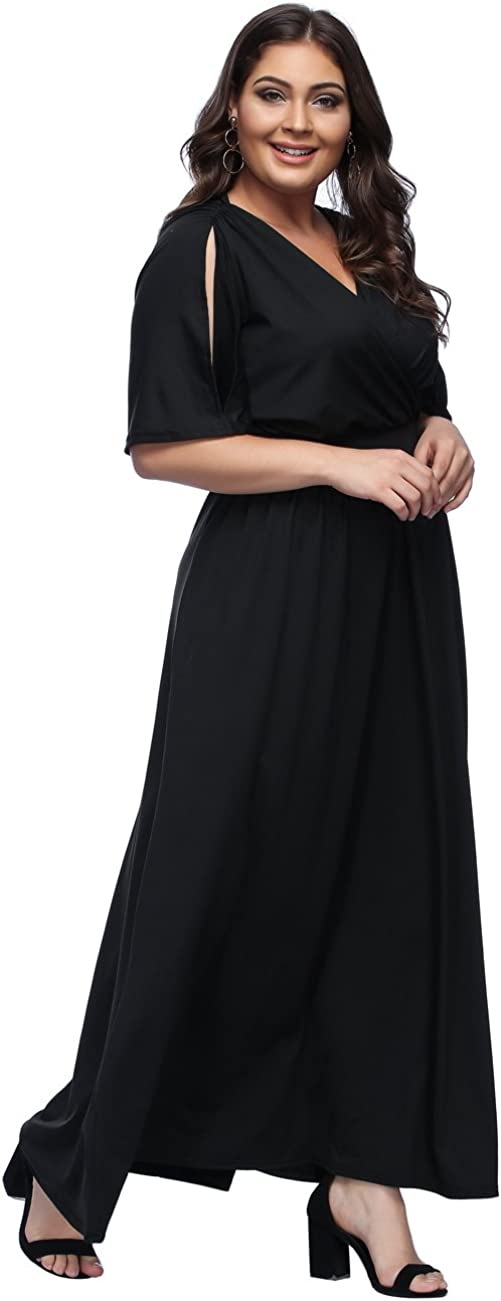 FeelinGirl Damen Plus Size Gro/ße Gr/ö/ßen Elegantes Langes Spitzenkleid Cocktailkleid Abendkleid Hochzeit Brautkleid mit kurz /Ärmel O-Ausschnitt Blumensptizen