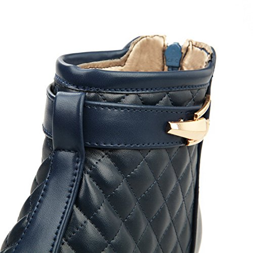 Mini Material Botas Suave Caña Cremallera Tacón Azul Sólido Mujeres Media VogueZone009 aPxtqB5wq