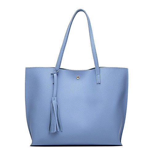 ANSAN Simple Design PU Leather Womens Shoulder Bags Top-Handle Tassel Handbag Tote Purse Bag Blue
